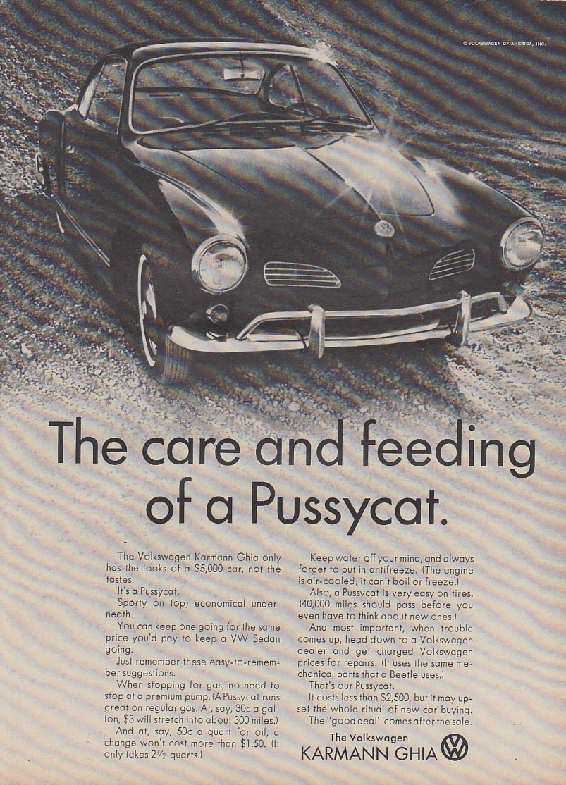 The care and feeding of a Pussycat Volkswagen Karmann Ghia ad 1966 T