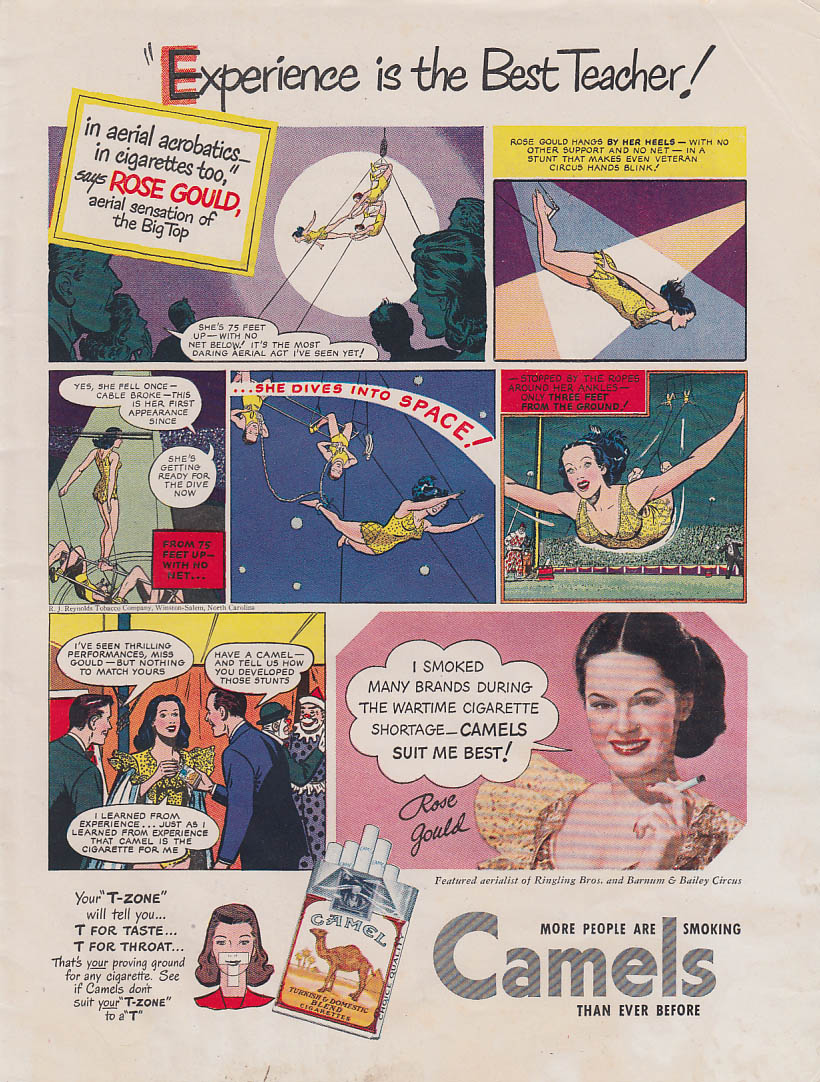 Experience the Best Teacher Circus aerialist Rose Gould Camel Cigarettes ad 1948