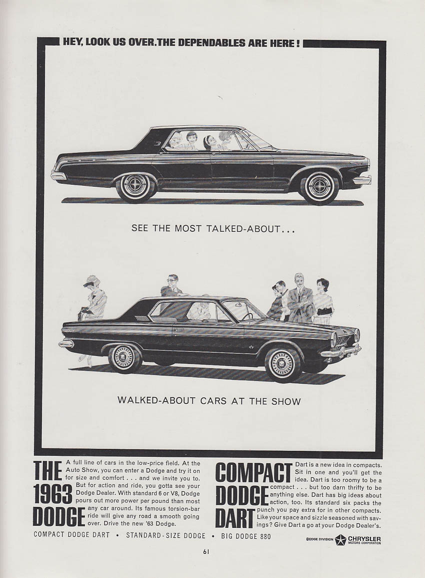 Most talked-about & walked-about cars in the show Dodge Polara & Dart ad 1963