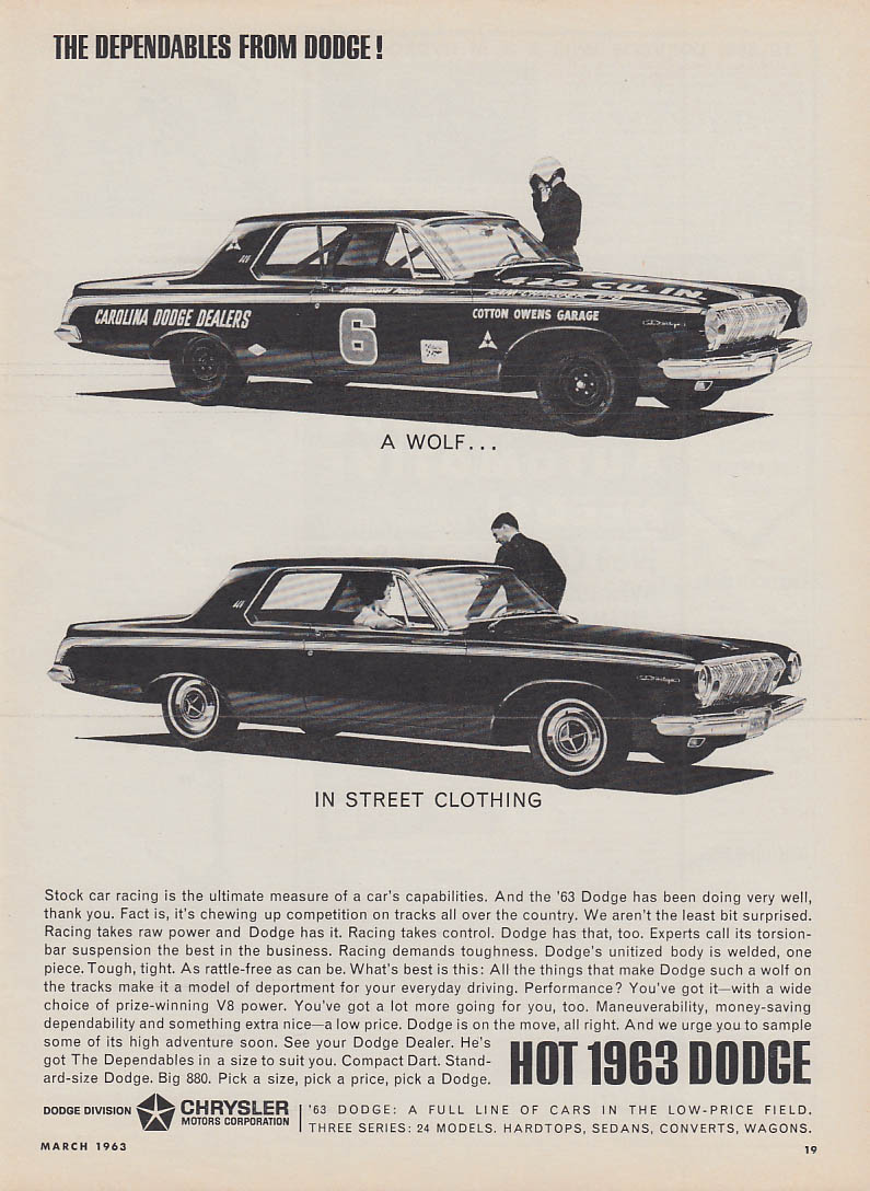 A wolf in street clothing - Dodge Cotton Owens 426 wedge ad 1963 HR