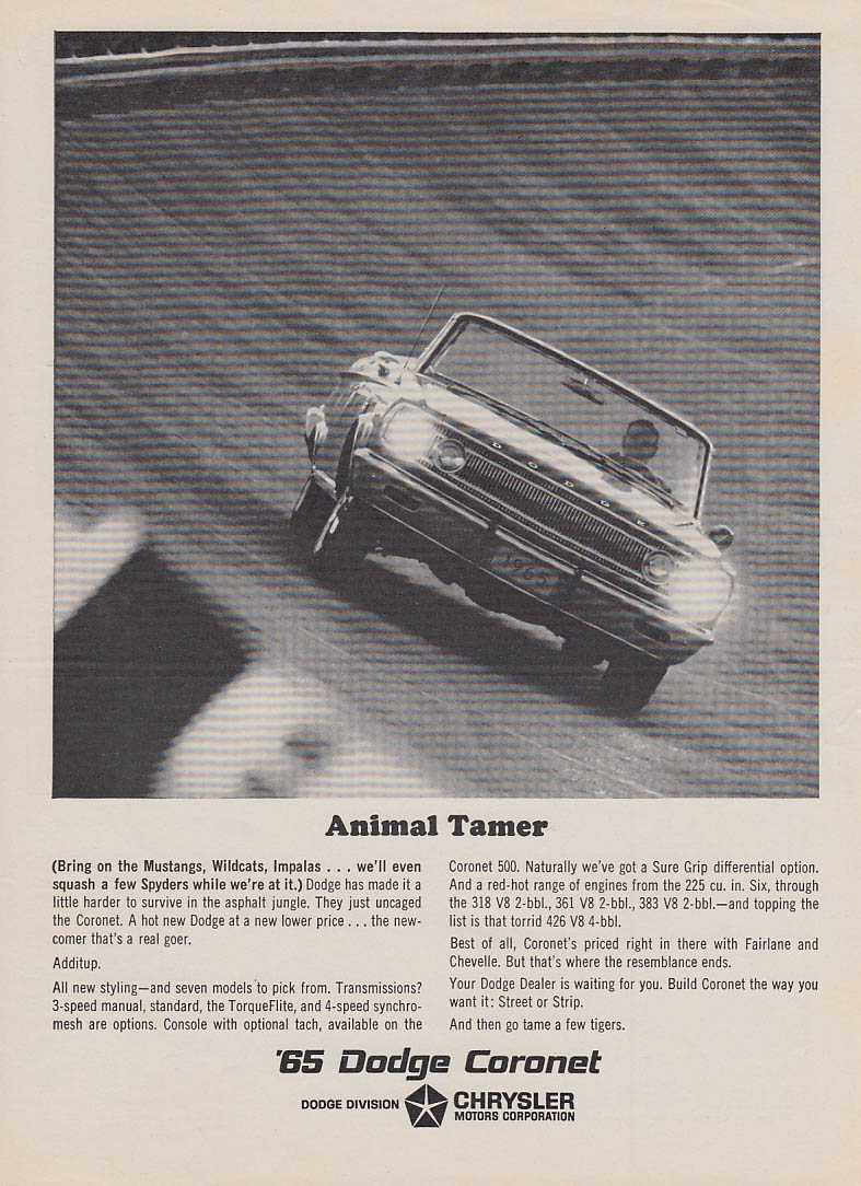 Animal Tamer - Bring on Mustangs Wildcats etc Dodge Coronet Convertible ad 1965