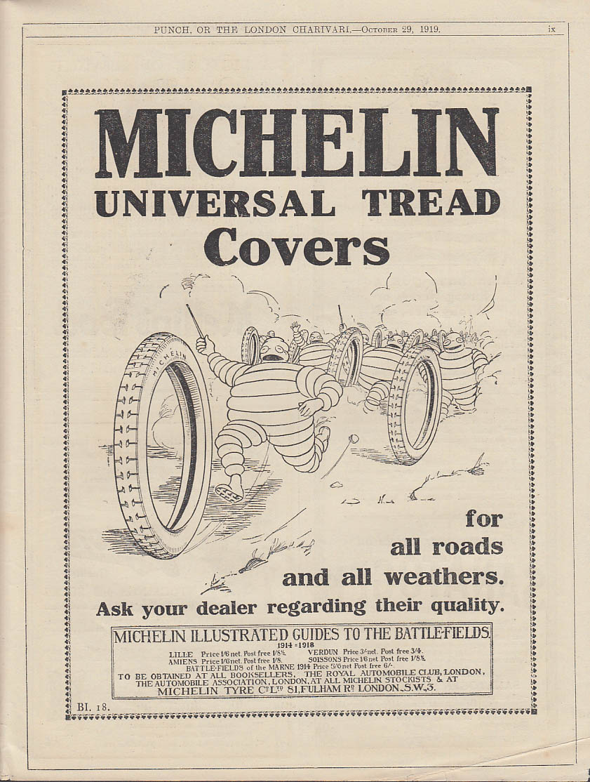 Image for Michelin Universal Tread Covers tyres ad 1919 Punch