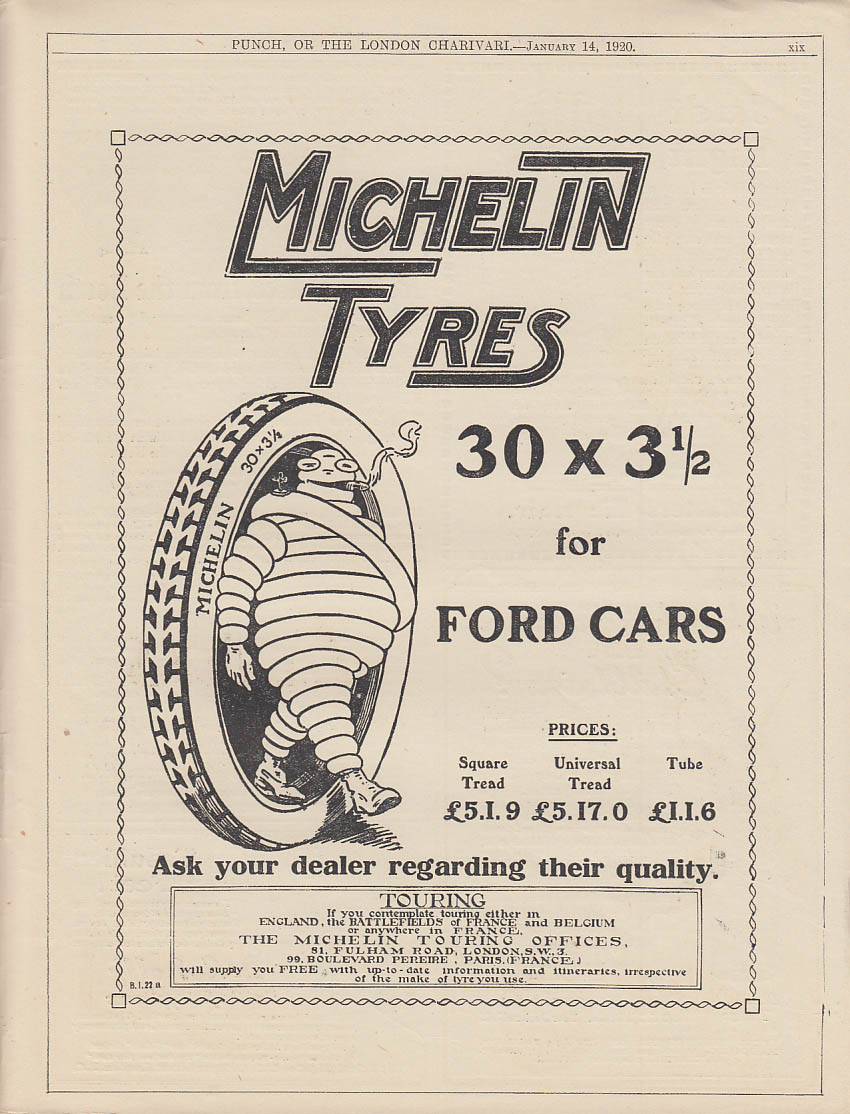 Image for Mochelin Tyres 30 x 3 1/2 for Ford Cars ad 1920 Punch