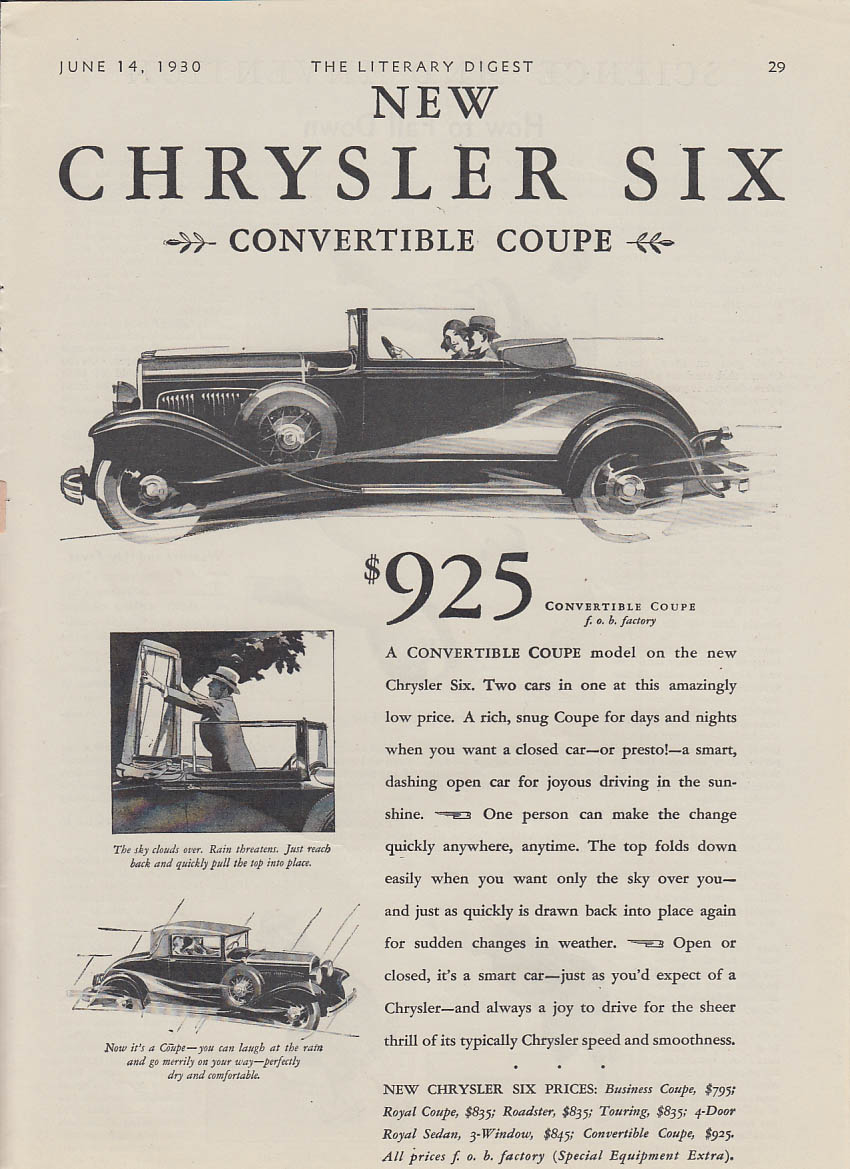 $925 - New Chrysler Six Convertible Coupe ad 1930 LD