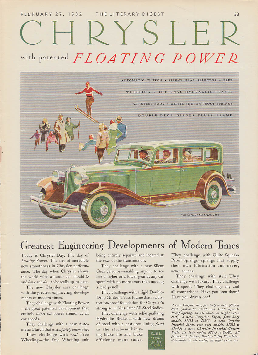 Image for Greatest Engineering of Modern Times Chrysler Six Sedan ad 1932 LD