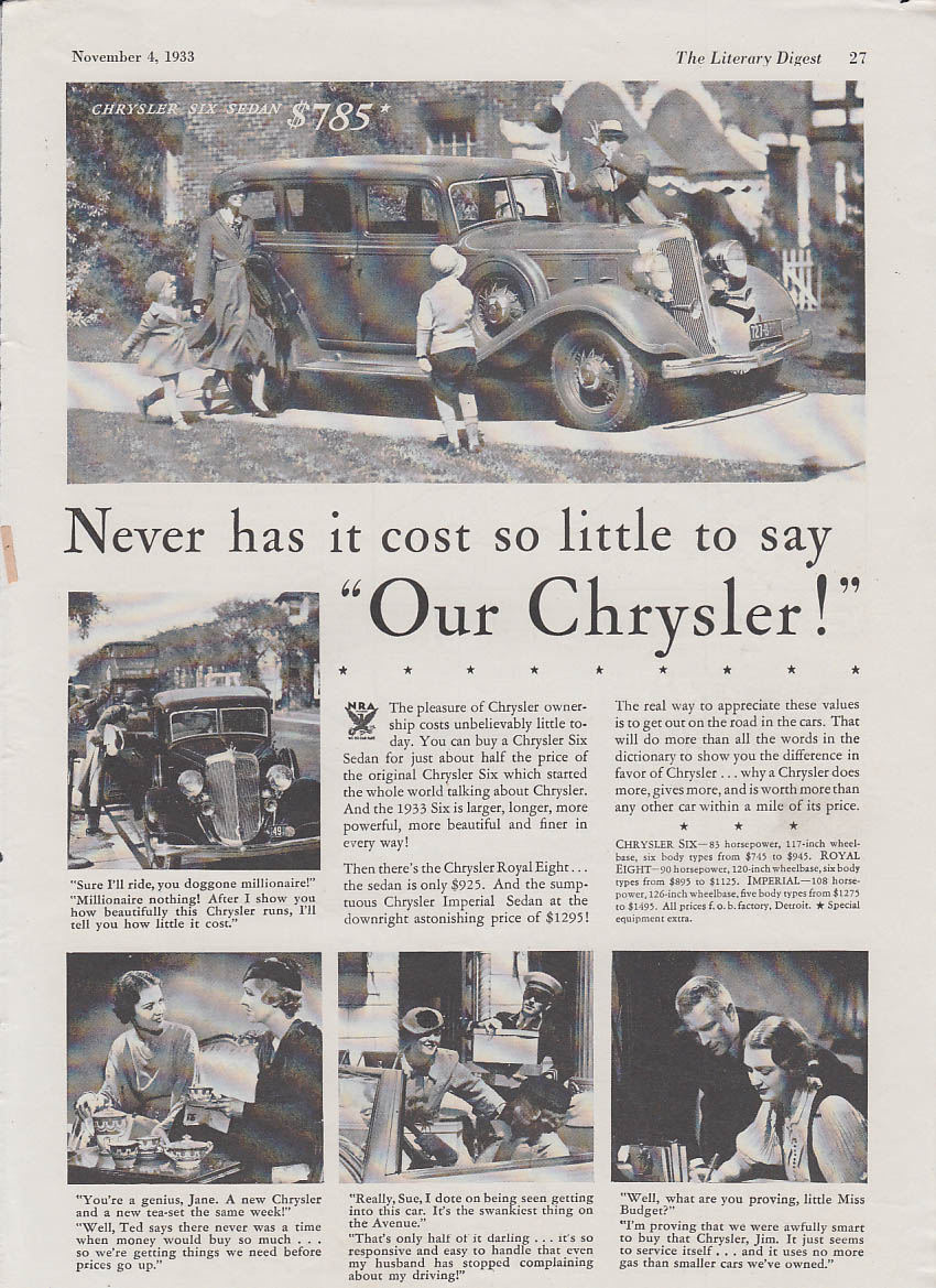 "Image for Never has it cost so little to say ""Our Chrysler"" Six Sedan ad 1933 LD"