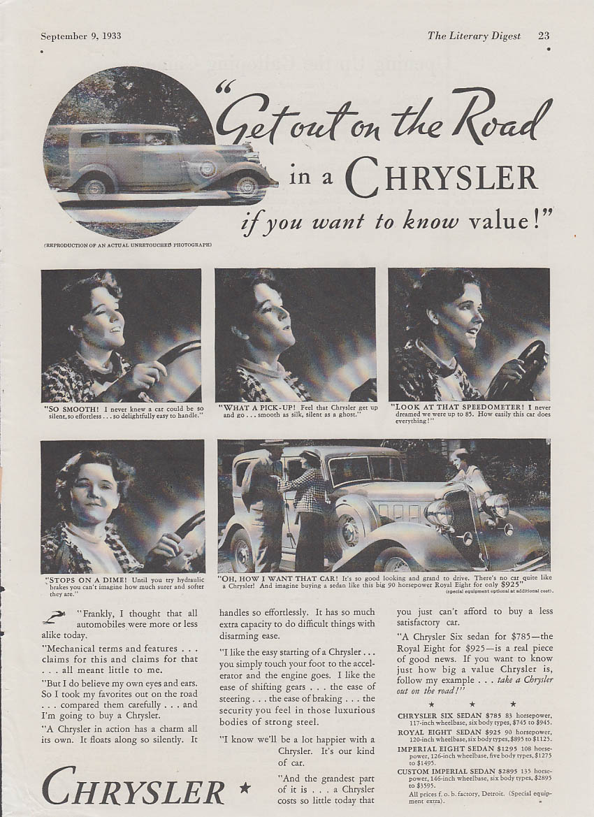 Image for Get out on the road in a Chrysler if you want to know value ad 1933 LD