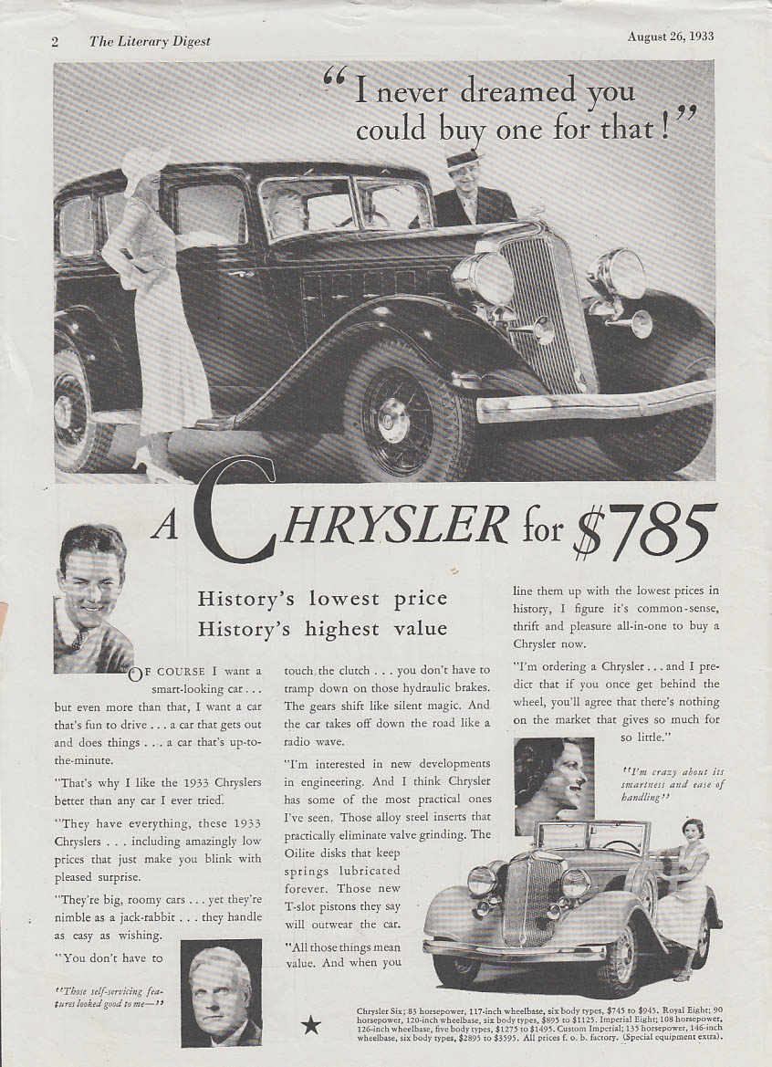 I never dreamed you could buy one for that Chrysler Six Sedan & Roadster ad 1933
