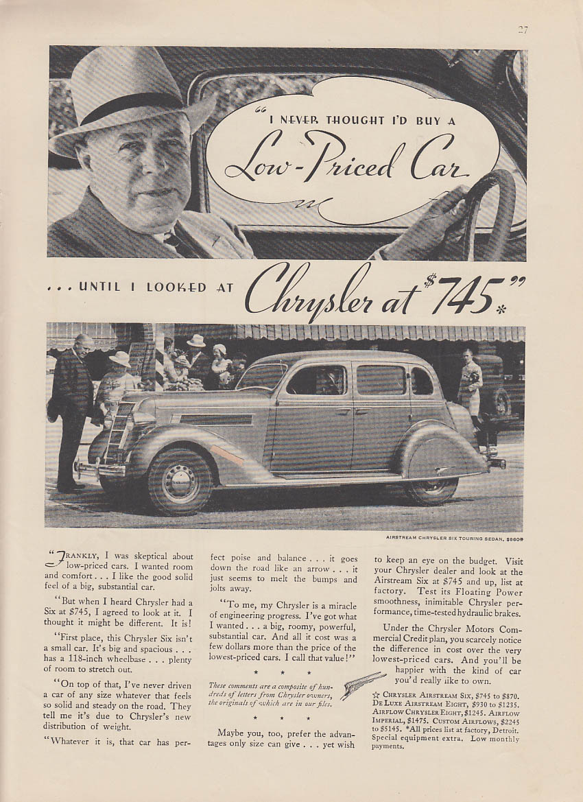 Image for I never thought low-priced car until I looked at Chrysler Airstream 6 ad 1935 NY