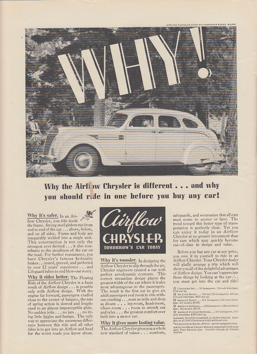 Why the Airflow Chrysler is different & why you should ride one ad 1936 NY