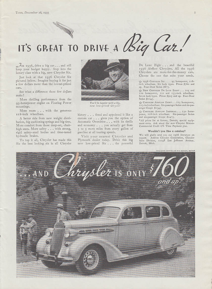 Image for It's great to drive a big car! Chrysler Six Sedan ad 1936 T