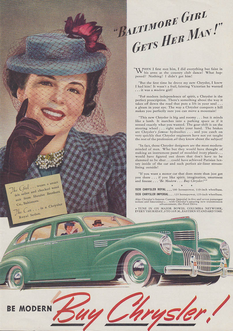 Image for Baltimore girl gets her man! Chrysler Royal Sedan ad 1939 Hutzler Bros suit T
