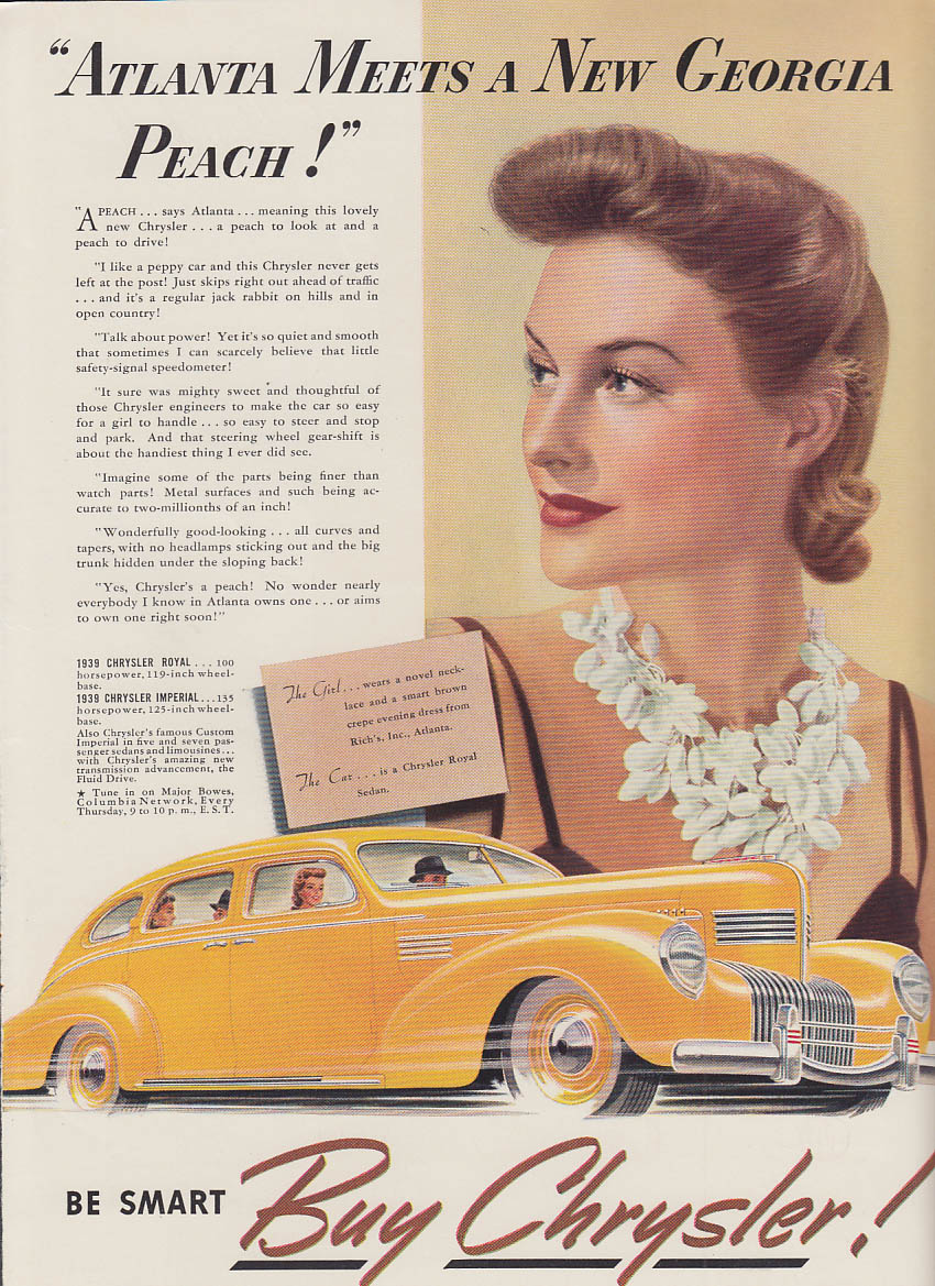 Image for Atlanta meets a new Georgia Peach Chrysler Royal ad 1939 Dress & necklace Rich's