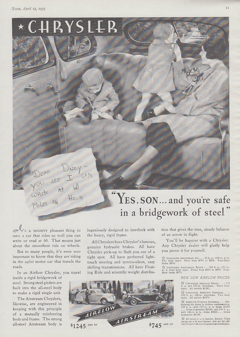 Image for Yes, son, & you're safe in a bridgework of steel Chrysler Airflow ad 1935 T