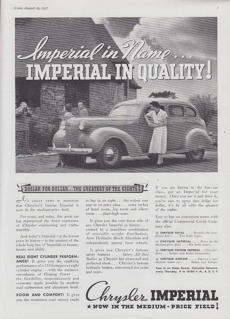 Image for Imperial in name Imperial in Quality- Chrysler Imperial ad 1937 T