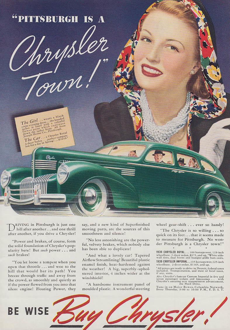 Image for Pittsburgh is a Chrysler Town! Royal ad 1939 Joseph Horne outfit T