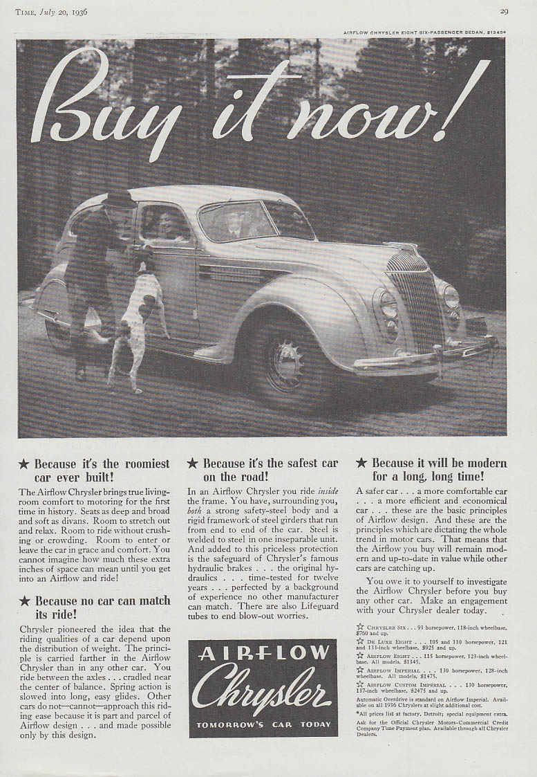 Image for Buy it now! Chrysler Airflow Sedan ad 1936 T
