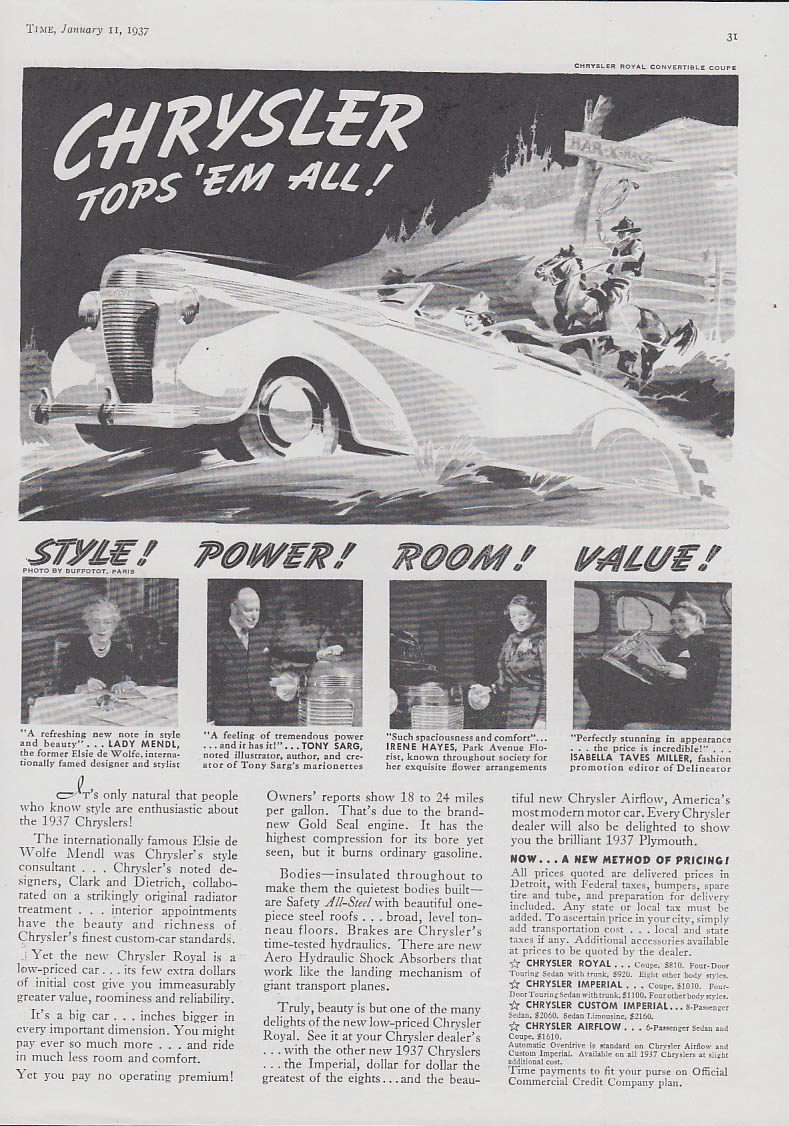 Image for Chrysler Convertible coupe tops 'em all! Style Power Room Value ad 1937 T