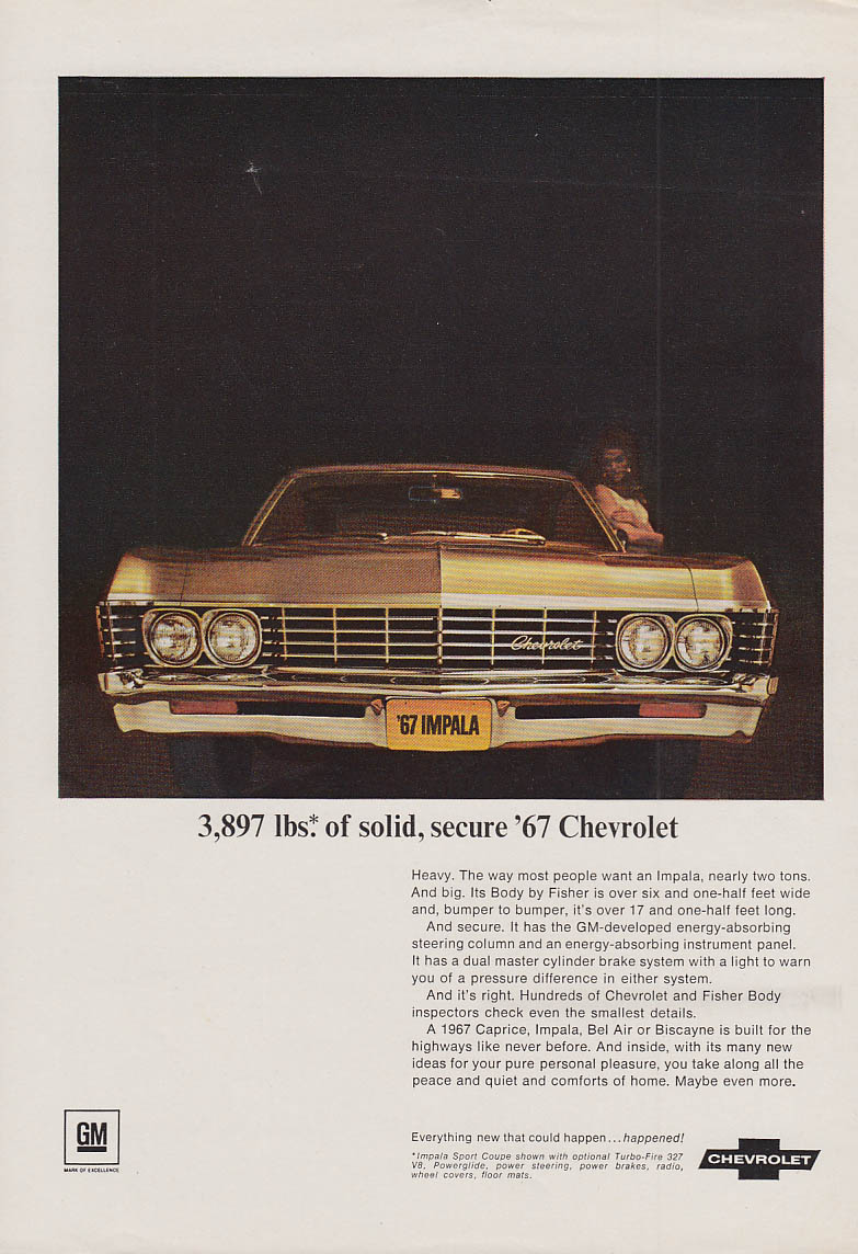 3,897 lbs of solid secure Chevrolet ad 1967 NY