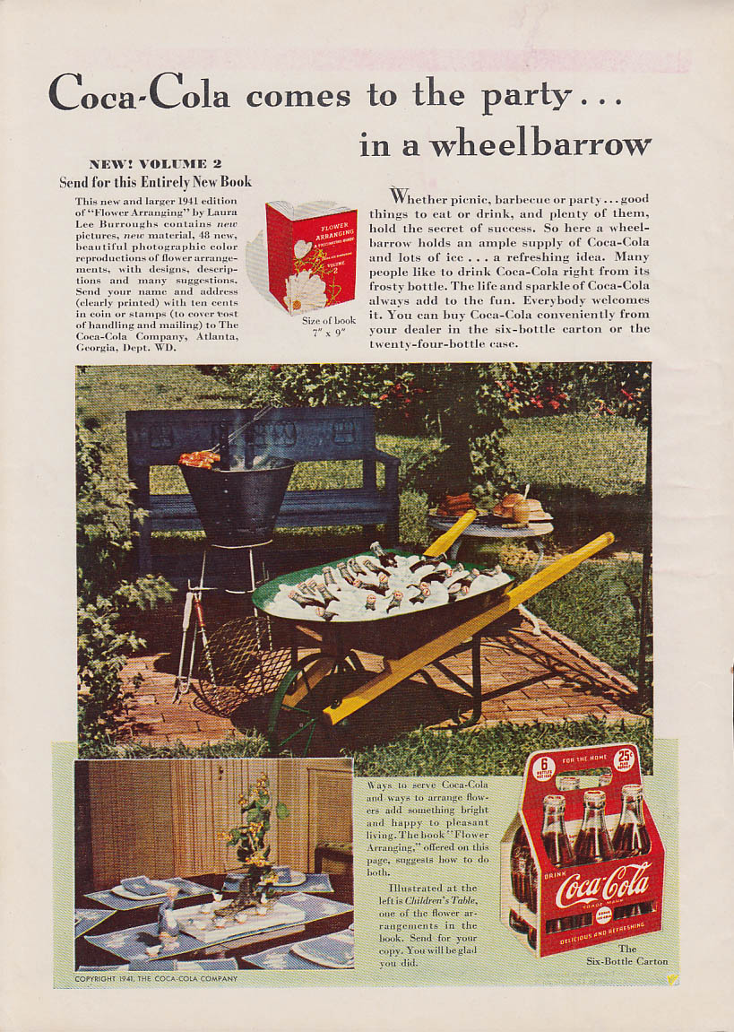 Coca-Cola comes to the party in a wheelbarrow ad 1941 WD
