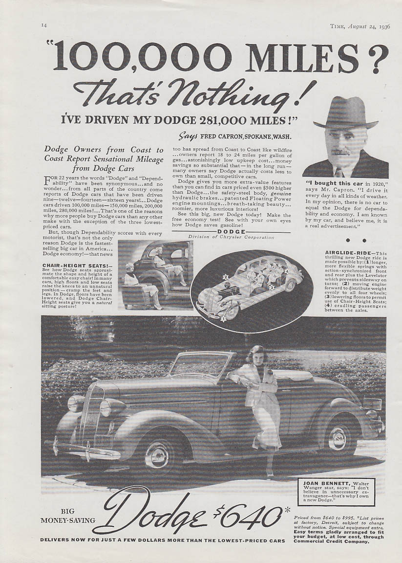 100,000 miles? That's Nothing! Joan Bennett Dodge Convertible Coupe ad 1936 T