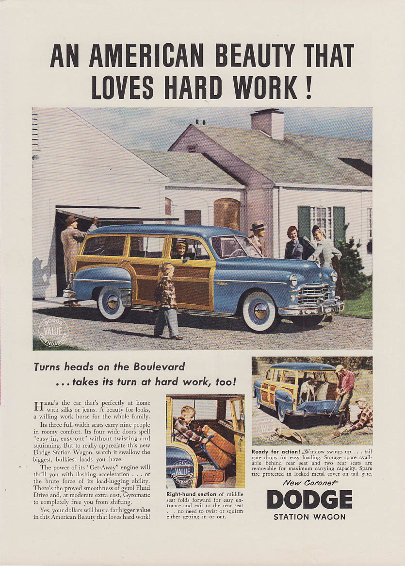 An American Beauty that Loves Hard Work Dodge Station Wagon woody ad 1949 NY