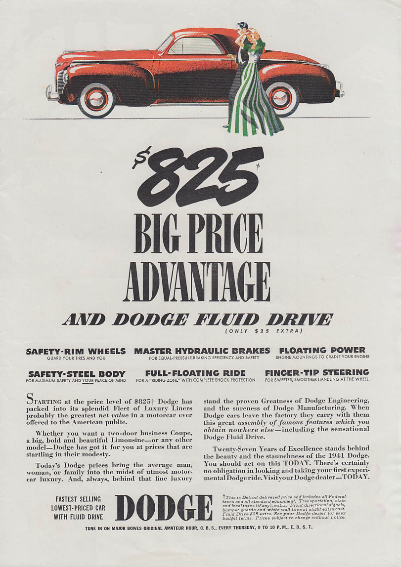 $825 Big Price Advantage and Dodge Fluid Drive Business Coupe ad 1941 T