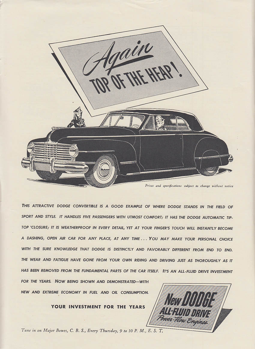 Again - Top of the Heap! Dodge Convertible Coupe ad 1942 NY