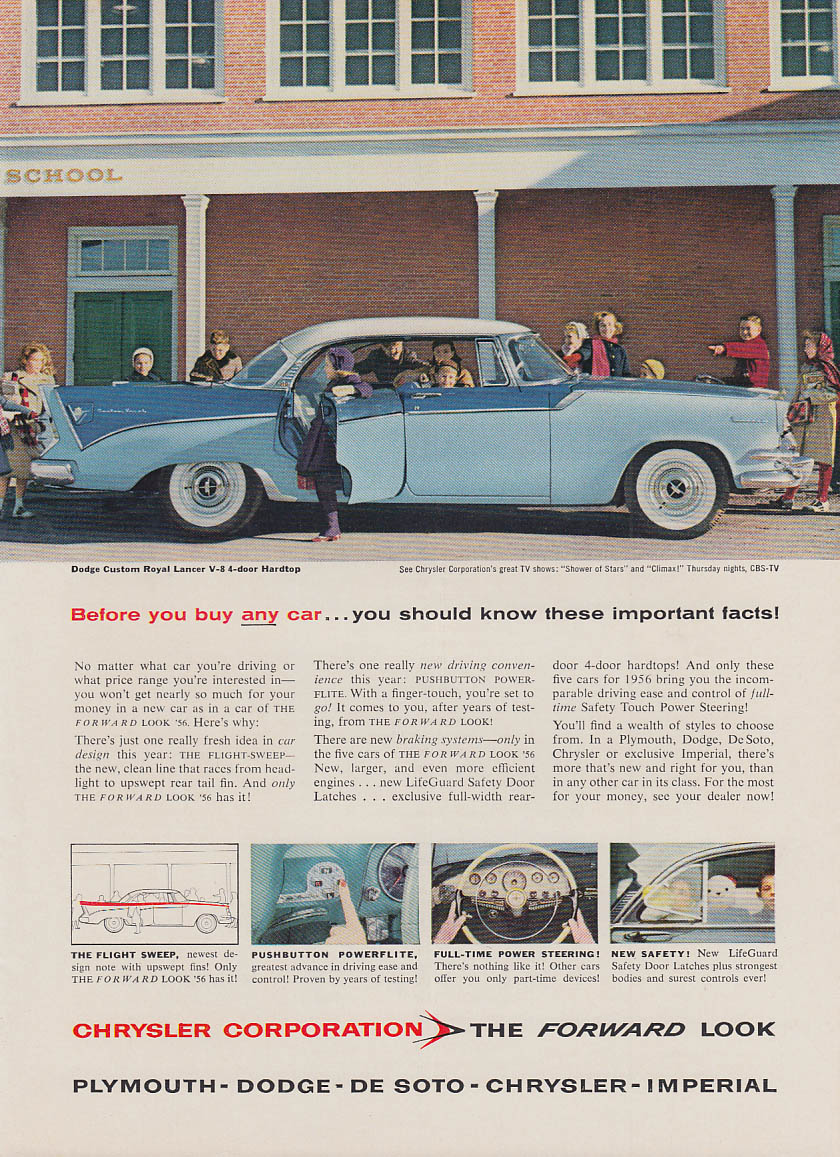Before you buy any car know these facts Dodge Custom Royal Lancer ad 1956 NY