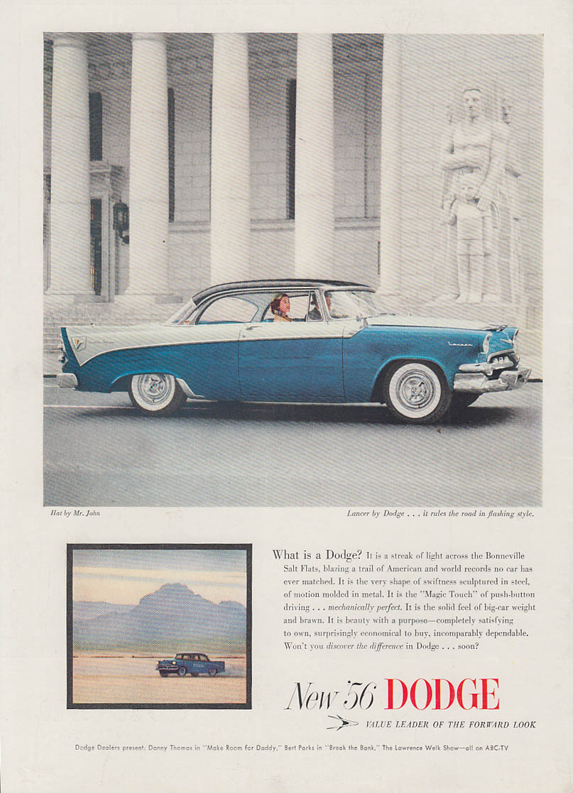 A streak of light across Bonneville Salt Flats Dodge Lancer HT ad 1956 SI