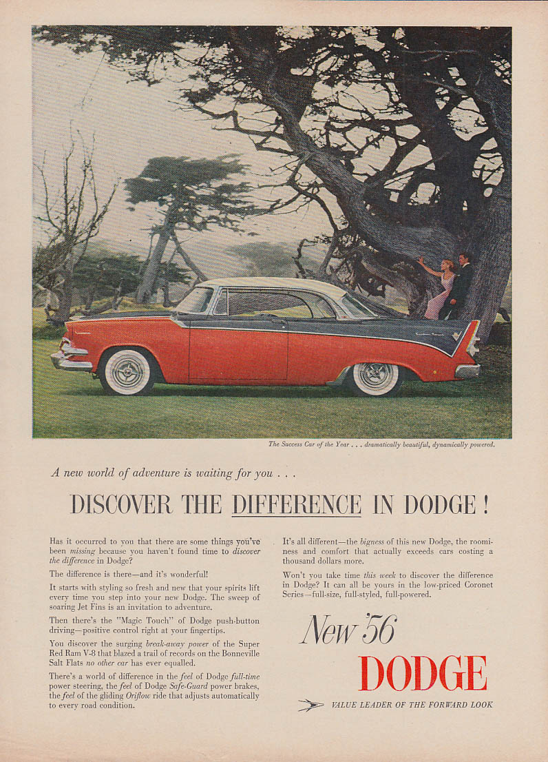 Discover the difference in Dodge Custom Royal Lancer HT ad 1956 T