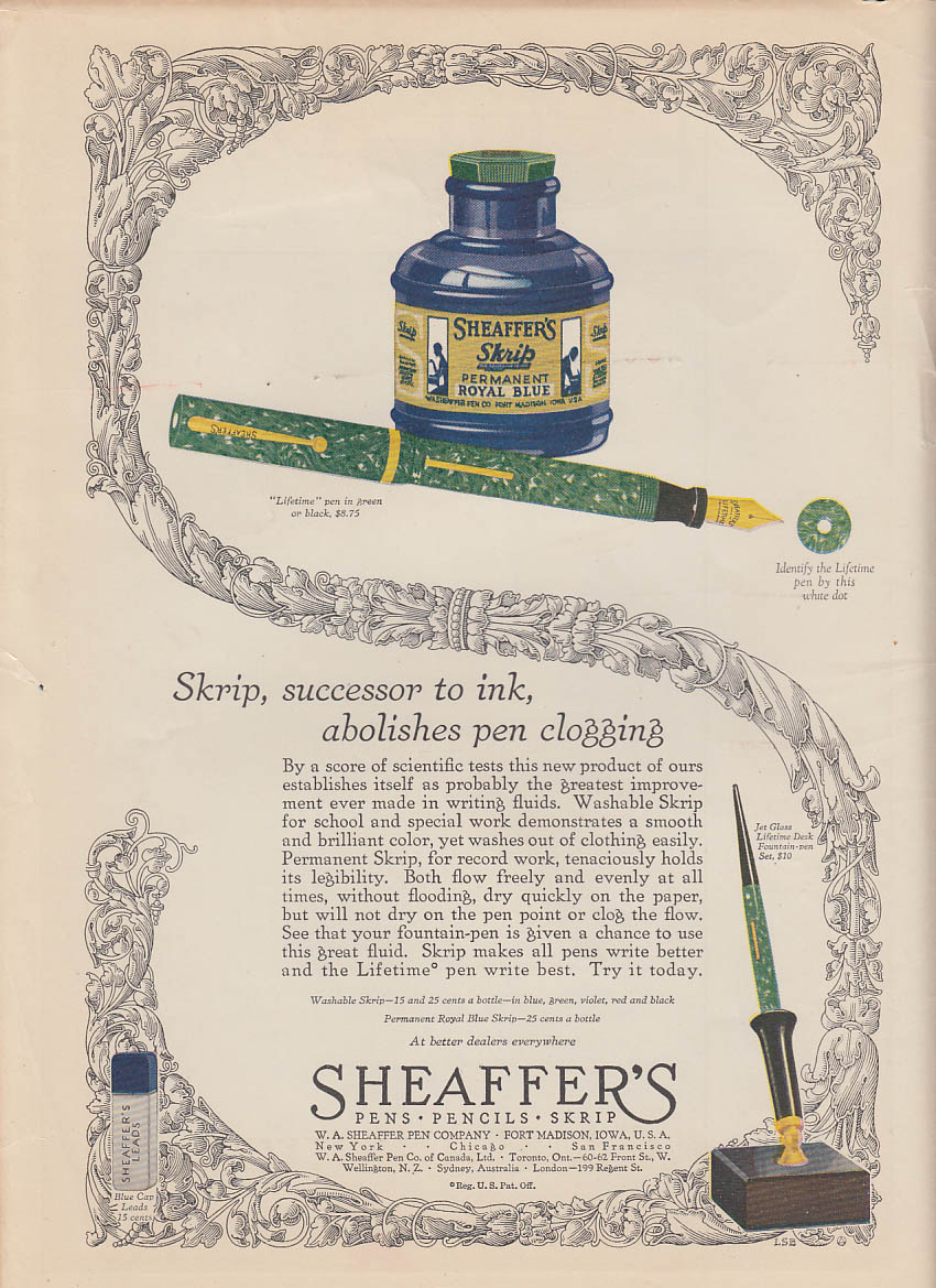 Image for Skrip, successor to ink, abolishes pen clogging Sheaffer's Pen ad 1928 LD
