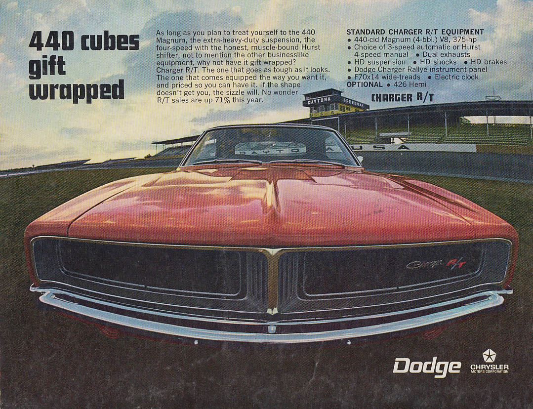 440 cubes gift wrapped - Dodge Charger R/T ad 1969 CD Annual