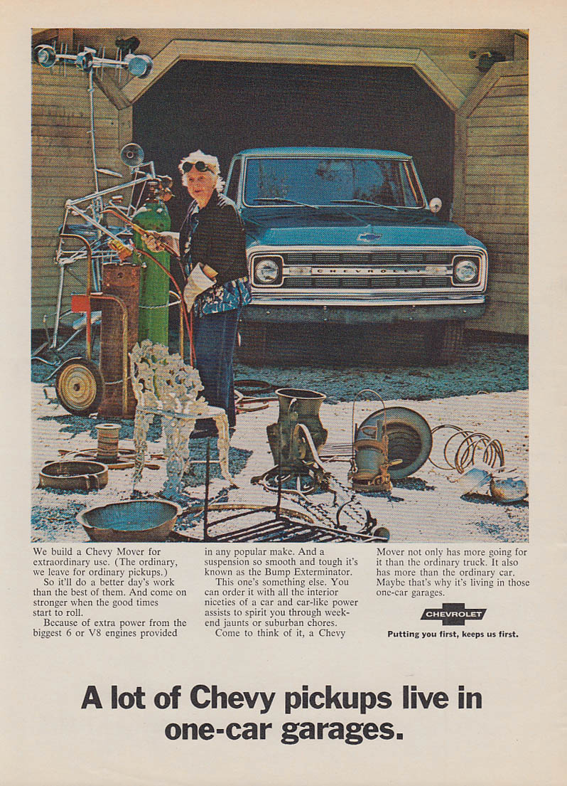 A lot of Chevrolet Pickups live in one-car garages ad 1970 SI
