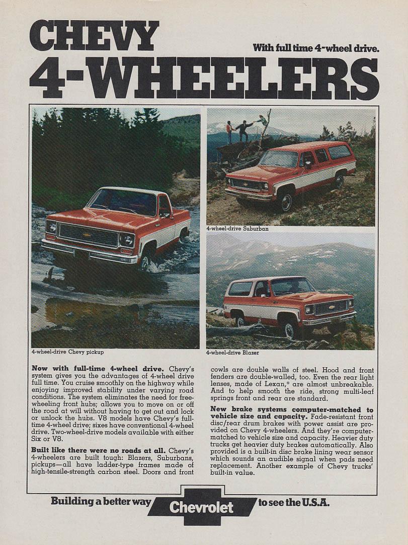 Chevrolet 4-Wheelers: Pickup Suburban Blazer ad 1974