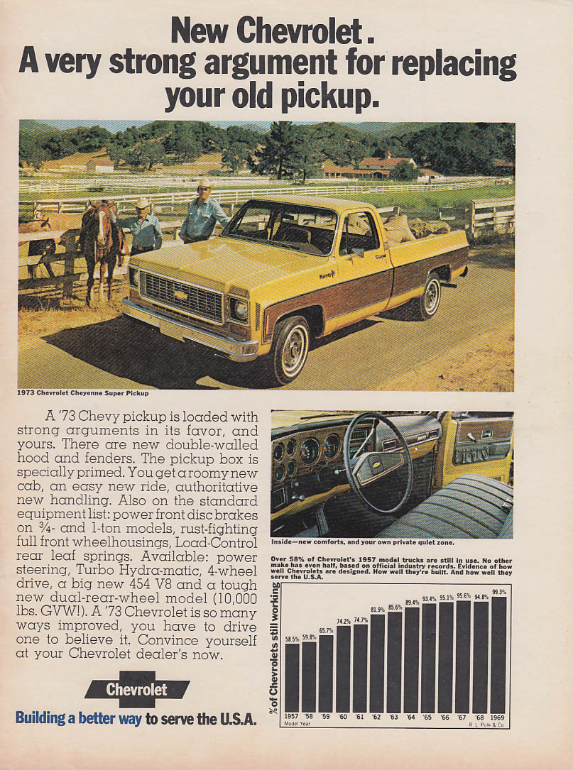 A very strong argument for Chevrolet Cheyenne Super Pickup ad 1973 FJ