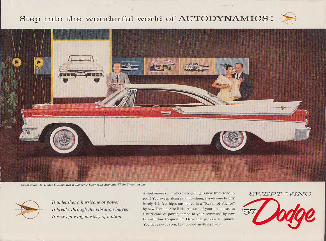 Step into the wonderful world of Autodynamics! Dodge Royal Lancer ad 1957 Tr