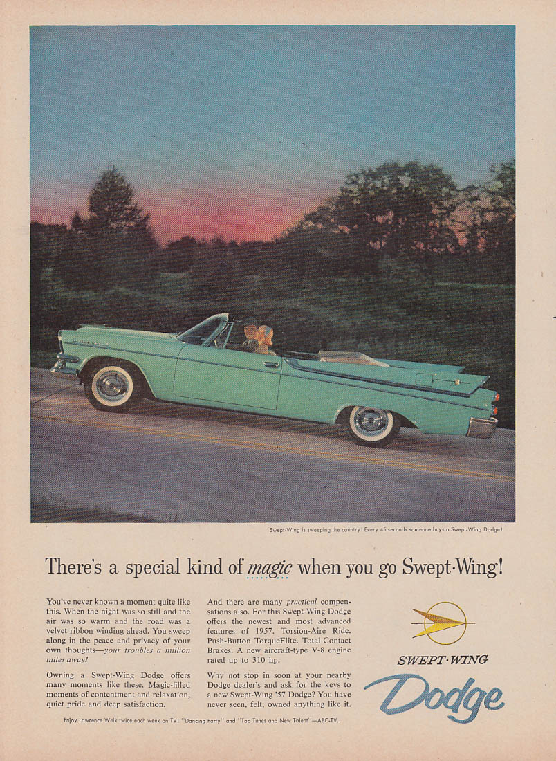 A special kind of magic when you go Swept-Wing Dodge Convertible ad 1957 v