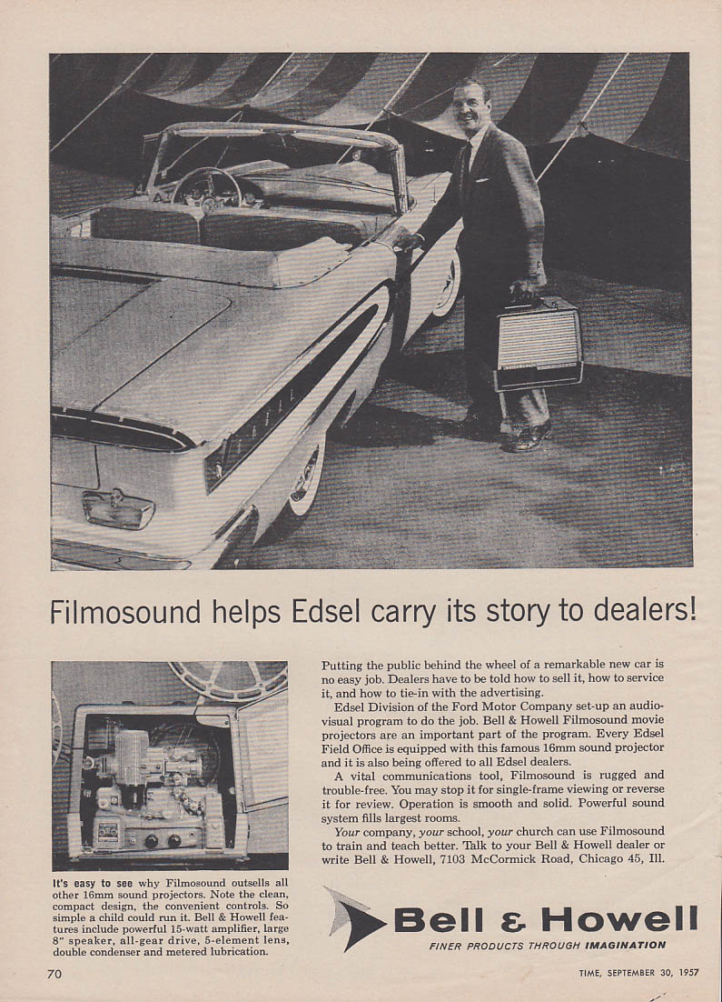 Bell & Howell Fimosound for Edsel Convertible sales force ad 1958 T