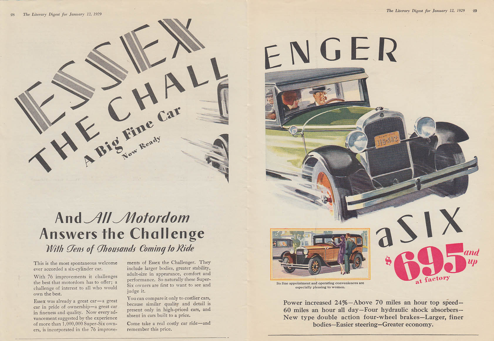 All Motordom Answers Essex The Challenger Super Six ad 1929 LD