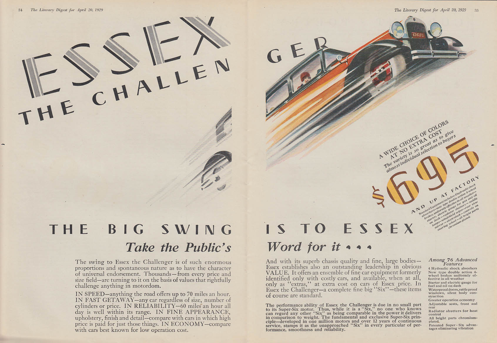 The Big Swing is to Essex Super Six The Challenger ad 1929 LD