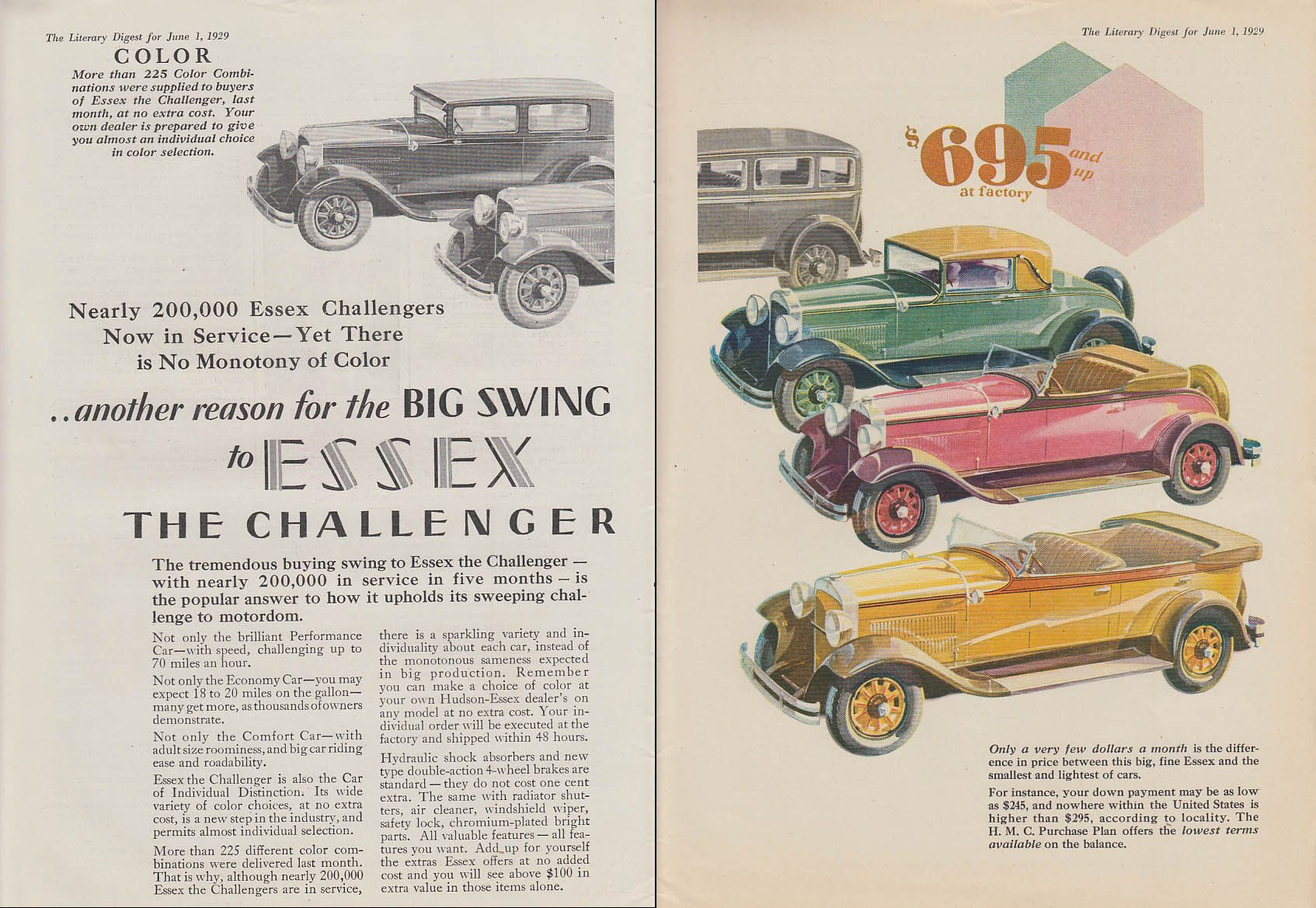 Color: another reason the Big Swing to Essex The Challenger Super Six ad 1929 LD