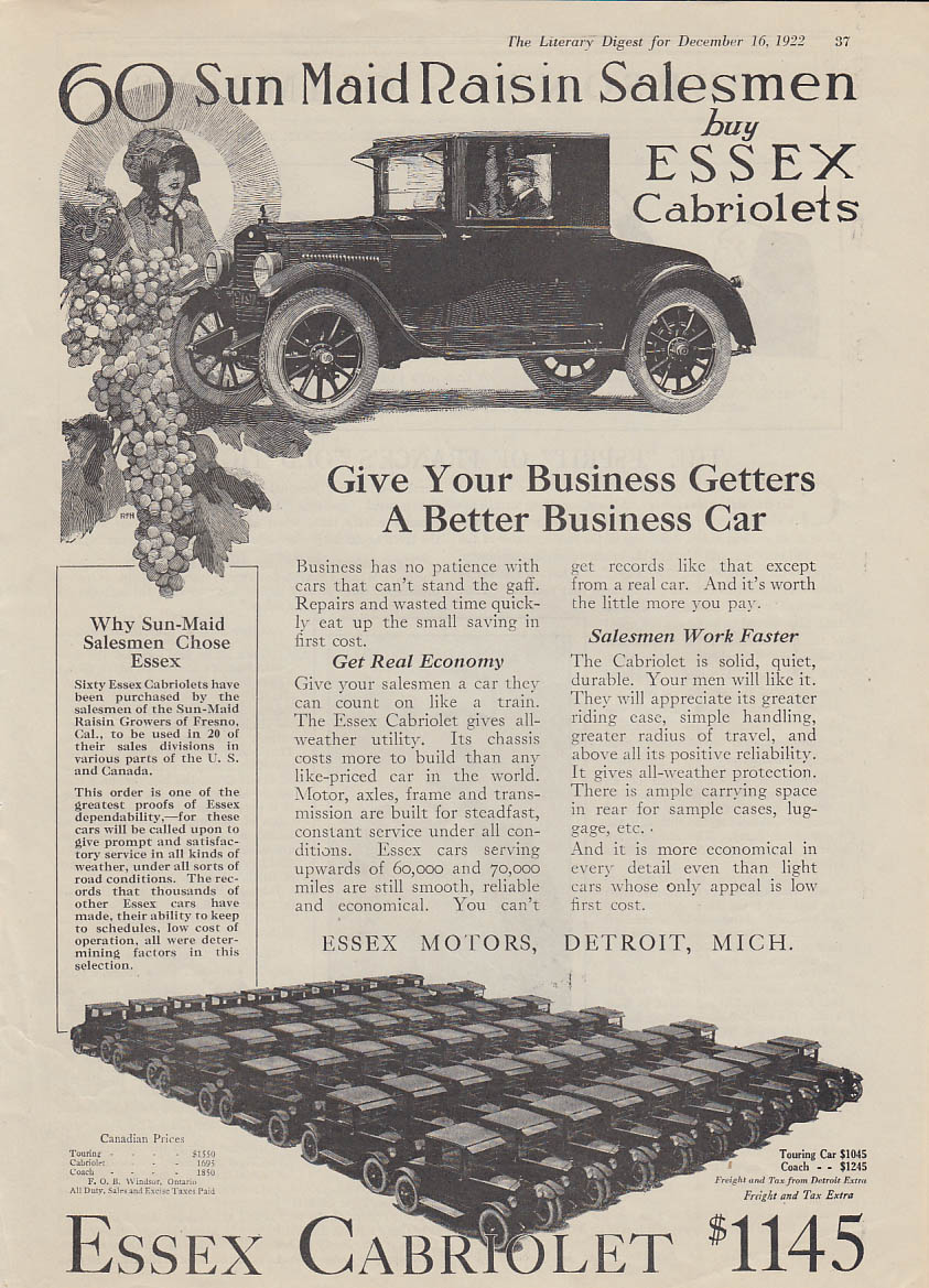 60 Sun Maid Raisin Salesmen buy Essex Cabriolets ad 1922 LD
