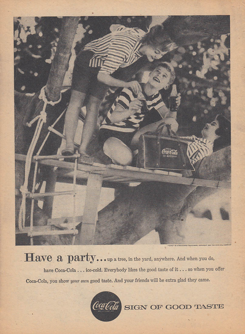 Have a party Coca-Cola ad 1957 in a treehouse