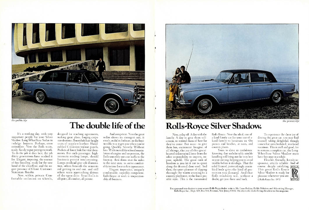 Image for The double life of the Rolls-Royce Silver Shadow ad 1973 NY