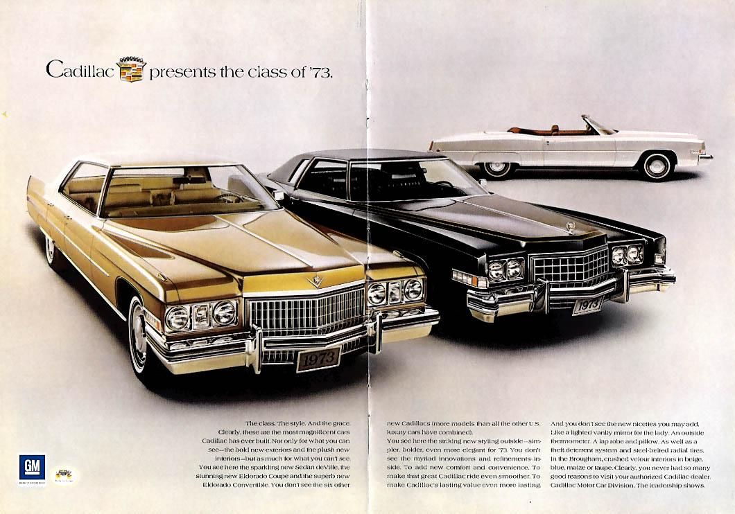 Cadillac presents Sedan de Ville Eldorado Coupe & Convertible ad 1973 NY