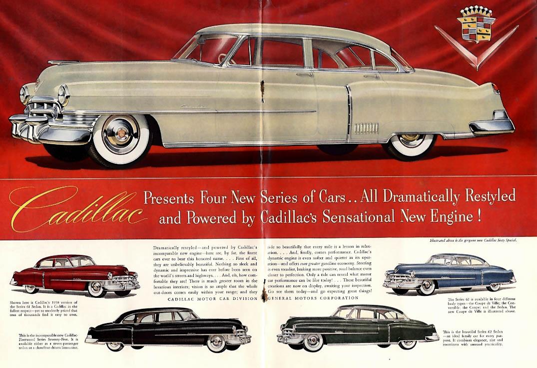 Cadillac presents 4 new series Fleetwood 75 Series 60 61 62 & 63 ad 1950 NY