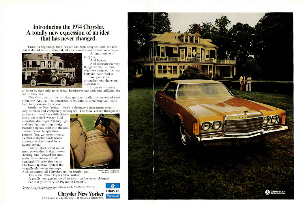 Image for Totally new expression of an idea never changed Chrysler New Yorker ad 1974 NY