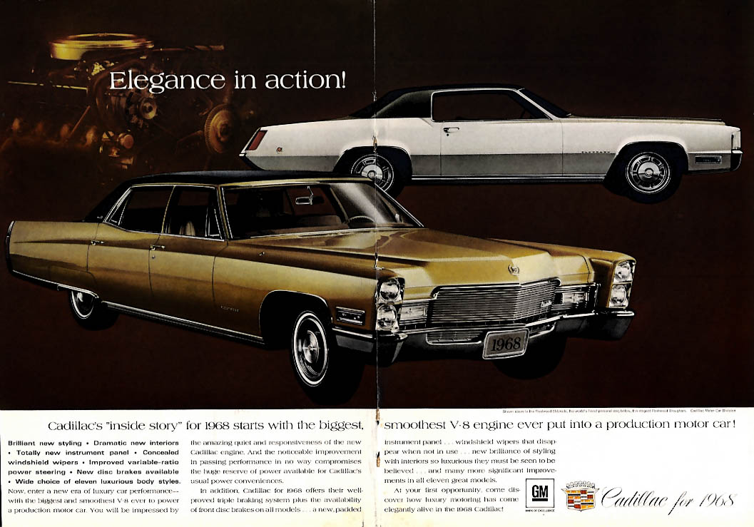 Elegance in action Cadillac Fleetwood Brougham & Eldorado ad 1968 MY