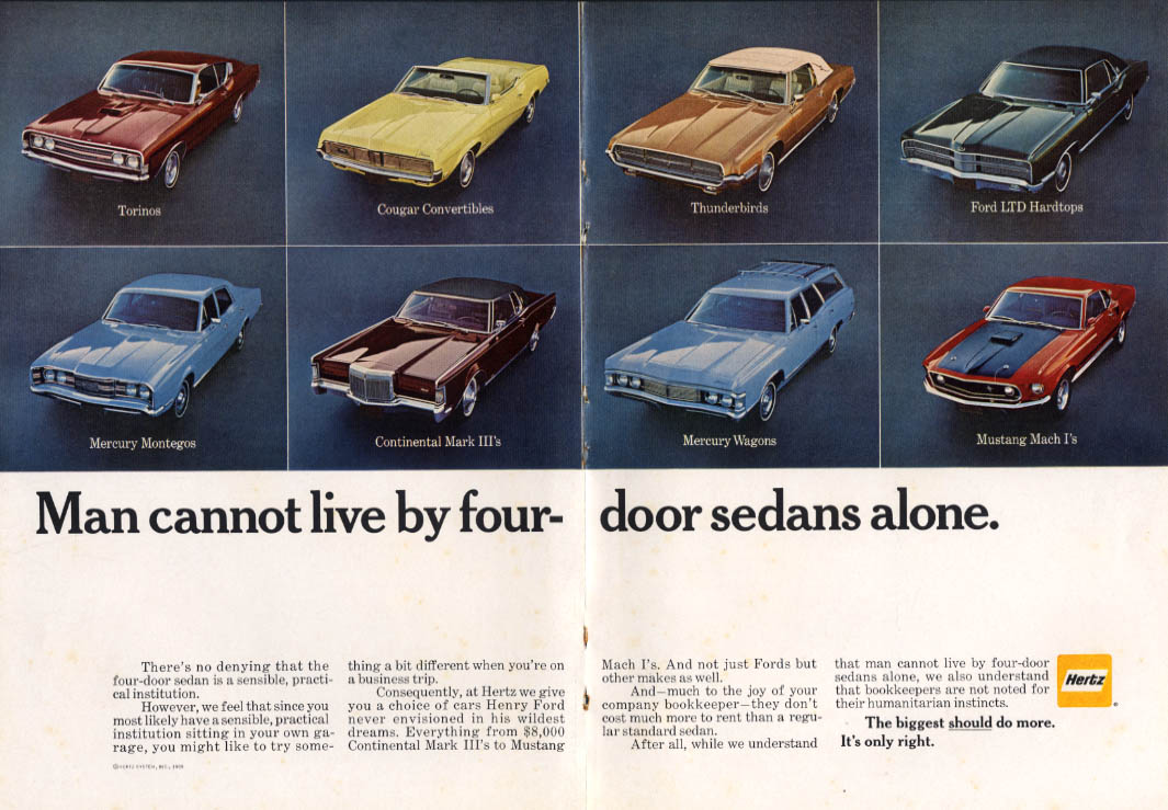 Image for Man cannot live Hertz Mustang Mach I Cougar Thunderbird + ad 1969 NY
